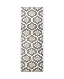 "Global Rug Design Cresent CRE01 Gray 2'6"" x 7'2"" Runner Area Rug"