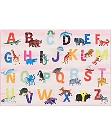 "Elementary Alphabet Decorative Pink 4'11"" x 6'6"" Area Rug"