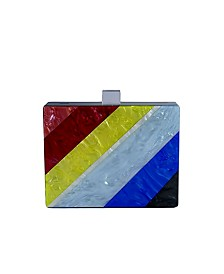 Milanblocks Rainbow Stripe Acrylic Box Clutch