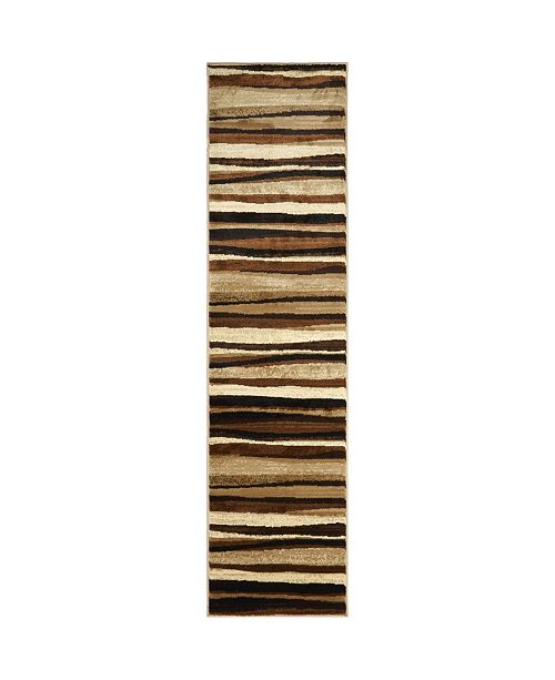 "Global Rug Designs CLOSEOUT! Global Rug Design Brighton BRI11 Brown 2'2"" x 14' Runner Area Rug"