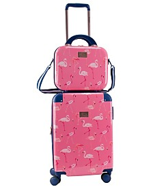 """Chariot Flamingo 2 Piece 20"""" Carry-On and Beauty Case Set"""