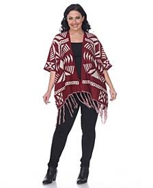 Plus Size Printed Aztec Poncho