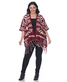 White Mark Plus Size Printed Aztec Poncho