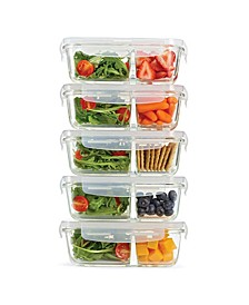 Set of 5 Divided Glass Containers, 27.05 Oz
