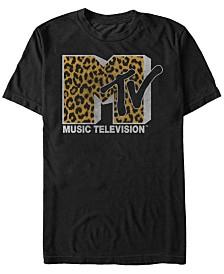 MTV Men's Cheetah Print Logo Short Sleeve T-Shirt