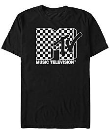 MTV Men's Black And White Checkered Logo Short Sleeve T-Shirt