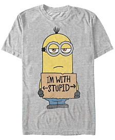 Minions Illumination Men's Despicable Me I'M With Stupid Short Sleeve T-Shirt