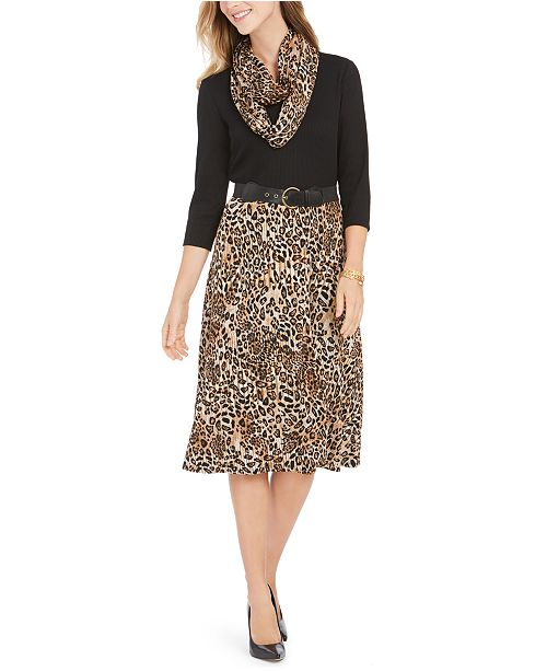 Robbie Bee Petite Belted Leopard-Print Sweater Dress & Scarf