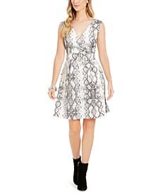 Snake-Print Fit & Flare Dress