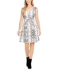 julia jordan Snake-Print Fit & Flare Dress