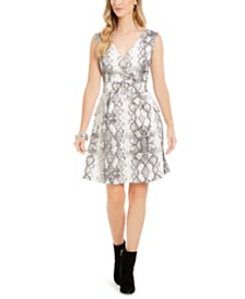 julia jordan Snake-Print Fit & Flare Dress