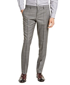 HUGO Hugo Boss Men's Slim-Fit Gray Windowpane Check Suit Pants