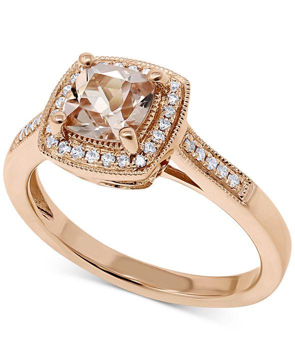 Macy's Morganite (5/8 ct. t.w.) & Diamond (1/8 ct. t.w.) Ring in 14k Rose Gold