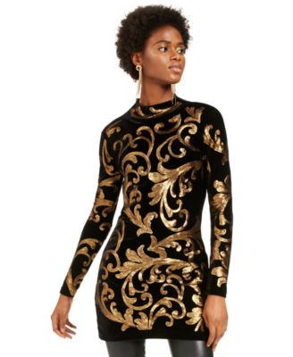 INC Sequined Mock-Neck Sweater, Created For Macy's