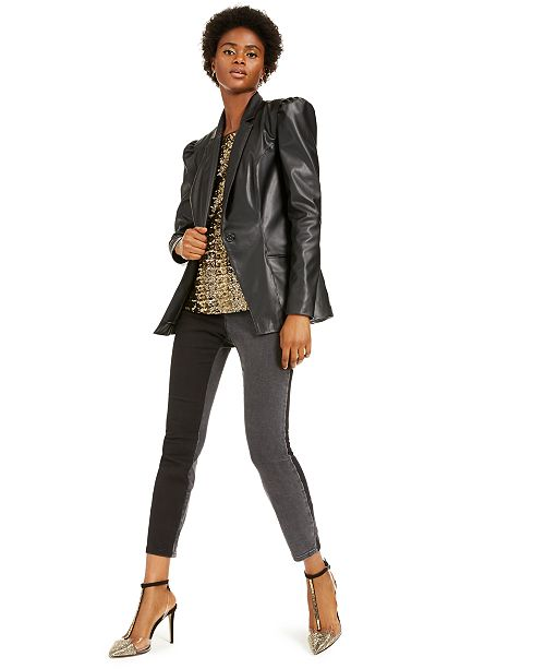 INC International Concepts I.N.C. Faux-Leather Blazer & Sequin Top, Created For Macy's