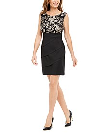 Petite Embroidered & Tiered Sheath Dress
