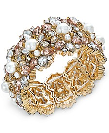 Gold-Tone Crystal, Stone & Imitation Pearl Stretch Bracelet, Created For Macy's