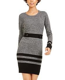 Juniors' Striped Button-Tab Sweater Dress