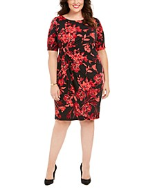 Plus Size Floral-Print Sarong Dress