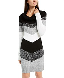 Juniors' Cowlneck Chevron Sweater Dress