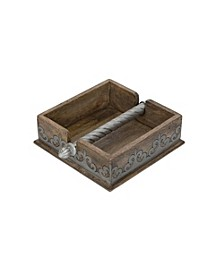 Wood and Metal Inlay Heritage Collection 7-Inch Square Napkin Holder