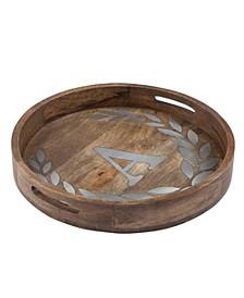Heritage Collection Monogram Mango Wood Round Tray