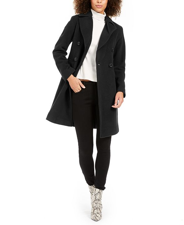Anne Klein Double-Breasted Walker Coat