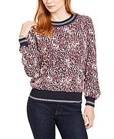 Animal-Print Ribbed-Trim Top, Created For Macy's