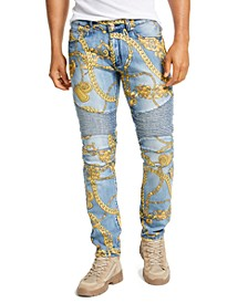 Men's Chain Moto Jeans