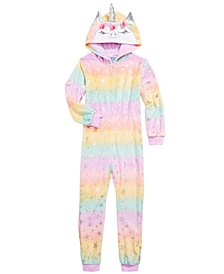 Little & Big Girls Unicorn Hooded Coverall Pajama