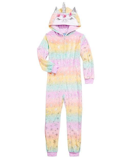 Max & Olivia Little & Big Girls Unicorn Hooded Coverall Pajama