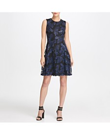 DKNY Sequin Mesh Fit  Flare Dress