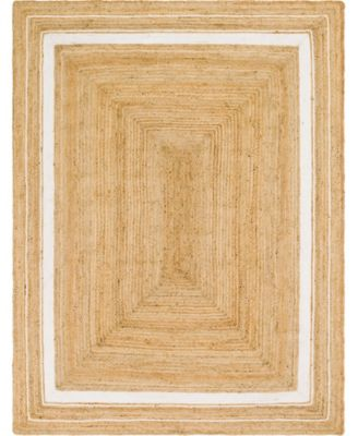 Braided Border Brb1 Natural/White 2' x 3' Area Rug
