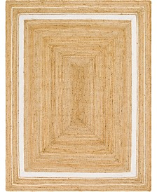 Bridgeport Home Braided Border Brb1 Natural/White Area Rug Collection