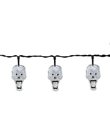 Set of 10 Battery Operated Skull LED Halloween Lights