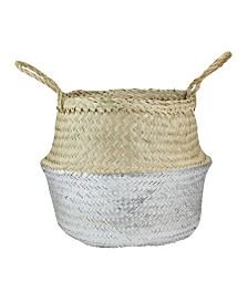 Northlight Seagrass Belly Wicker Basket with Handles
