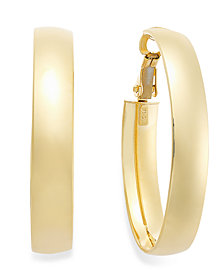 Italian Gold Omega Back Hoop Earrings in 14k Gold