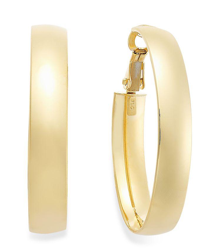 Italian Gold - 14k Gold Earrings, Omega Back Hoop Earrings