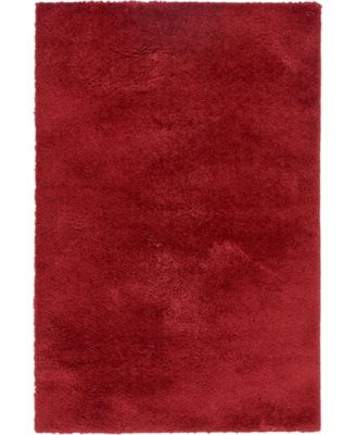 Salon Solid Shag Sss1 Red 5' x 8' Area Rug