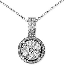 Bouquet by EFFY® Diamond Circle Cluster Pendant (3/8 ct. t.w.) in 14k White Gold