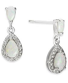 Opal (5/8 ct. t.w.) & Diamond (1/4 ct. t.w.) Drop Earrings in 14k White Gold