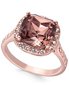 Rose Gold-Tone Crystal Halo Ring, Created For Macy's