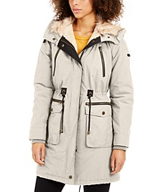 Hooded Faux-Fur-Trim Anorak Jacket