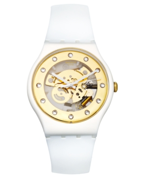 Swatch Watch, Unisex Swiss Sunray Glam White Silicone Strap 41mm SUOZ148