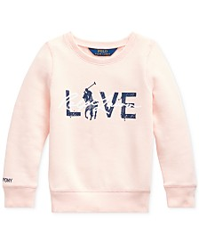 Polo Ralph Lauren Toddler Girls Pink Pony Fleece Logo Sweatshirt
