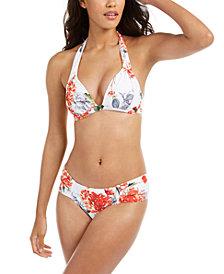 RACHEL Rachel Roy White Floral Printed Halter Bikini Top & Hipster Bottoms