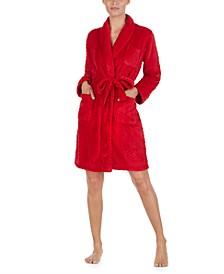 So Soft Herringbone Short Wrap Robe