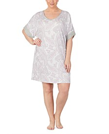 Plus Size Knit Printed Sleep Shirt