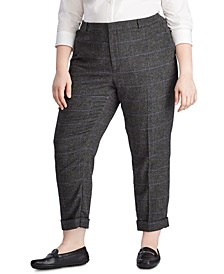 Plus Size Straight Wool-Blend Pants