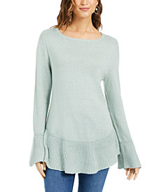 Style & Co Petite Ruffle-Hem Tunic Sweater, Created For Macy's
